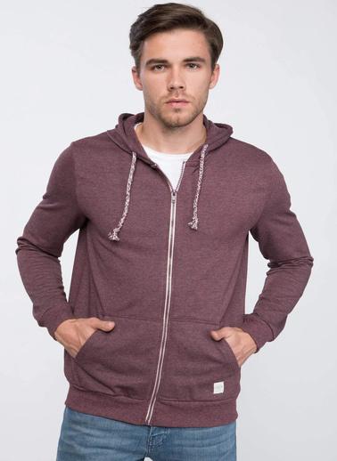 DeFacto Basic Kapşonlu Sweatshirt Hırka Bordo